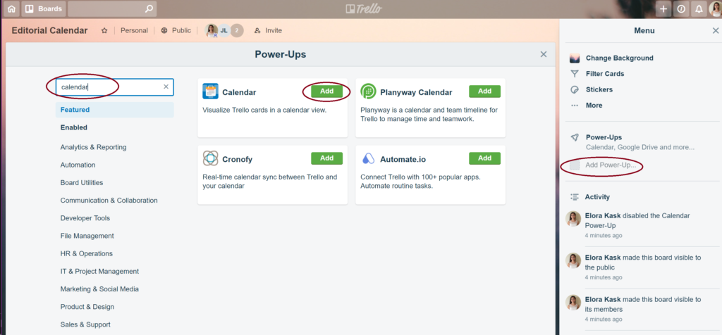 Enable Power Up in Trello